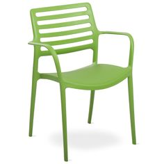 Inspired by classic Italian design: green indoor / outdoor Sala armhair. The molded polypropylene is lightweight, stackable, and virtually indestructible.