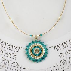 Turquoise pendant necklace Turquoise and gold by LioraBJewelry