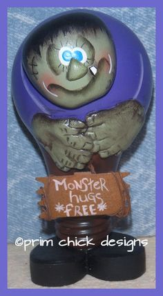 hand painted MONSTER HUGS Franky light bulb halloween by primchick