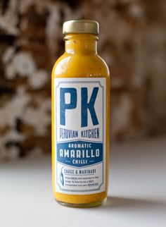 Like how this one has a major focal point with apothecary-esque writing underneath. Peruvian Kitchen - aromatic amarillo chilli sauce and marinade Spices Packaging, Cool Packaging, Food Packaging Design, Bottle Packaging, Packaging Design Inspiration, Brand Packaging, Packaging Ideas, Label Design, Package Design