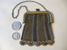 Antique Art Deco Tri Color Silver Gold Bronze Stripe Micro Mesh Coin Purse #Unbranded #ChangePurse