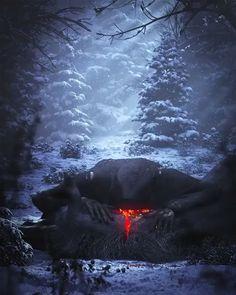 Epic Fantasy Art for Your Descriptive Writing Inspiration Dark Artwork, Dark Art Drawings, Dark Gothic Art, Dark Fantasy Art, Arte Horror, Horror Art, Dark Paintings, Creepy Paintings, Art Zine