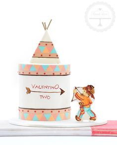 A cake for the little Indian warrior to celebrate his birthday.