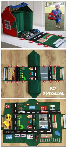 DIY Felt Car Play Mat-House Free Sewing Pattern & Tutorial Source by pepechihuahua Felt Crafts Kids, Diy And Crafts, Sewing Patterns Free, Free Sewing, Pattern Sewing, Sewing For Kids, Diy For Kids, Car Play Mats, Felt Play Mat
