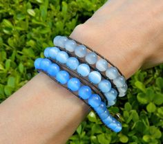 3 shades blue hombre cats eye fiber optic glass beaded wrap bracelet 8 mm round beads by EntwineArt on Etsy