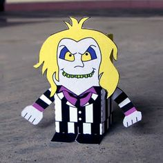 Free download to print and make your own little Beetlejuice paper sculpture from Toy-A-Day blog!