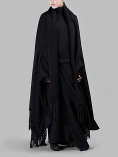 YOHJI YAMAMOTO WOMEN'S BLACK FRINGE STOLE CLOAK