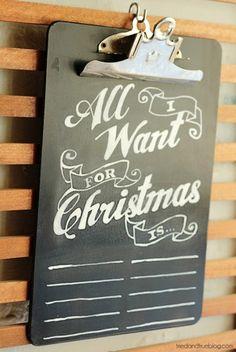 chalkboard wish list DIY
