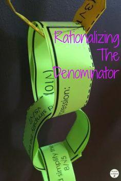 Rationalizing the Denominator Activity Paper Chain Precalculus, Algebra 2, Paper Chains, Secondary Math, Student Engagement, Creative Teaching, Common Core Standards, Math Teacher, Math Resources