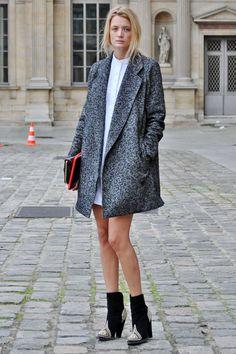 @EmilyandMeritt's Fave Coat Combos: #1: Cropped jacket or chubby + natural-waisted or long dress #2: Longer coat + shorter dress #3: Peacoat + pants