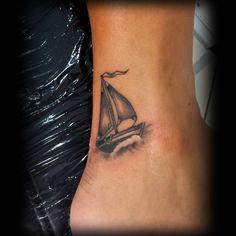 Set sail #tattoo for a lovely traveller. #tattooartist #tattoos #sailboat #ocean #waves #blackandgre - minataur.tattoo