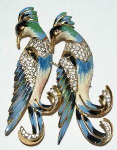 Rare Coro Enamel Sterling Birds Duette 1940's