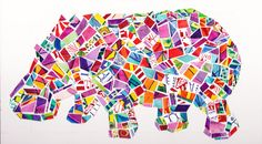 paper mosaic hippo from susan gainen