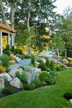 Amazing Rock Garden Design Ideas For Front Yard. Here are the Rock Garden Design Ideas For Front Yard. This post about Rock Garden Design Ideas For Front Yard was posted under the Outdoor category by our team at July 2019 at am. Hope you enjoy it . Front Yard Landscaping Design, Landscape Design, Landscaping Along Fence, Rock Garden Design, Beautiful Backyards, Backyard Landscaping Designs, Xeriscape Landscaping, Landscape Plans, Rock Garden Landscaping