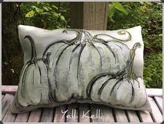 Elegant Pumpkins on Antique Satin Handpainted Ready to Ship YelliKelli