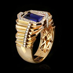 Yellow gold, Tanzanite 4,66 ct. and Diamond ring by Mousson Atelier