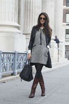 layering clothes - dresses, tights, boots can't wait for Fall.