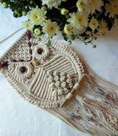 Owl Macrame  Wall hangings decor Art handmade Boho,Owl white figurine lover gifts birthday,Dreamcatcher,decor home nursery kitchen,animals