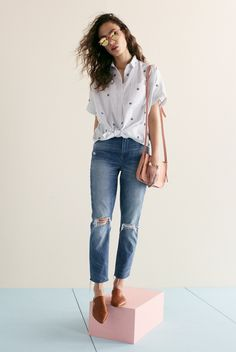 madewell high-rise slim boyjean worn with the gemma mule, embroidered peace sign short-sleeve tie-front shirt, the simple crossbody bag + indio sunglasses.