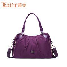 Laifuブランドデザインおしゃれな軽量旅行バッグナイロンダッフルバッグ多くポケット週末バッグヨーロッパアメリカスタイル黒紫色