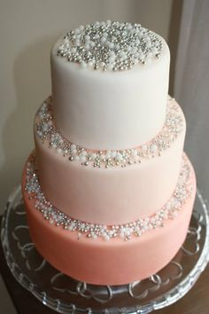 Pink Ombre cake with loads of bling by Cakes by Meg