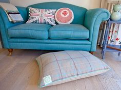 blue couch Dog Presents, Blue Office, Blue Couches, Handmade Cushions, Sofa, Throw Pillows, Bed, Furniture, Home Decor