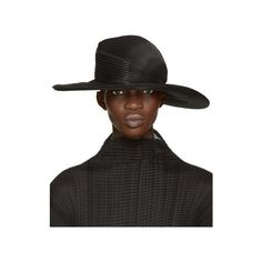 c170259818a16 Issey Miyake Black Pleated Hat ( 855) ❤ liked on Polyvore featuring  accessories