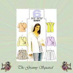 #Sewing patterns for those who march to the beat of a different drummer Button front or wrap style blouse with sleeve options. Change your look in a flash with six easy to sew sexy tops. Feminine and lacy. Butterick sewing pattern 3784.  View:A... #trending #etsy #craftpromote #vintage #sewing
