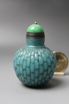 Fine Chinese Antique Carved Dustpan lines Blue Glass Snuff Bottle 19th C.