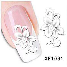 Nagelsticker water transfer XF 1091, Restposten, weiß, grau, Blumen