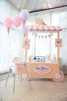 Party decoration ideas: Ice Cream Stand + Bar from an Ice Cream Parlor Birthday Party via Kara's Party IdeasHow cute is this little ice cream stand?Looking for a summer-themed birthday party? This Kara's Party Ideas featured Ice Cream Parlor Birthday Ice Cream Stand, Ice Cream Parlor, Ice Cream Cart, First Birthday Parties, Birthday Party Themes, First Birthdays, Baby First Birthday Themes, 19 Birthday, Birthday Ideas