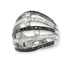black and white diamond right hand ring