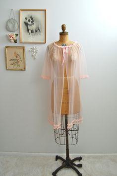 Vintage 1960s Pink Lingerie  60s Peignoir Robe  by BohemianBisoux, $32.00