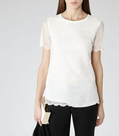Womens Off White Short Sleeve Lace Top - Reiss Vienna