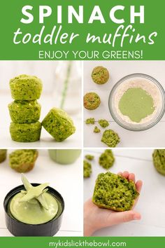 A baby-led weaning blender muffin based on a green smoothie, no are refined sugar #muffins #babyledweaning #babyfood Spinach Muffins, Veggie Muffins, Healthy Muffins, Healthy Toddler Meals, Toddler Food, Kids Meals, Baby Finger Foods, Baby Foods, Veggie Recipes Healthy