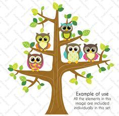 Brown Owls Clip art and Digital paper set by pixelpaperprints