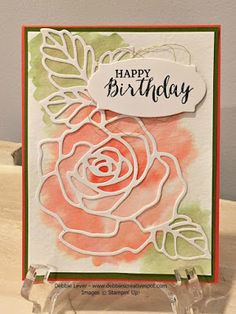 handmade card: Rose Wonder Birthday Card ... watercolor wash in coral and olive topped with stained glass die cut rose outlines ... Stampin' Up!