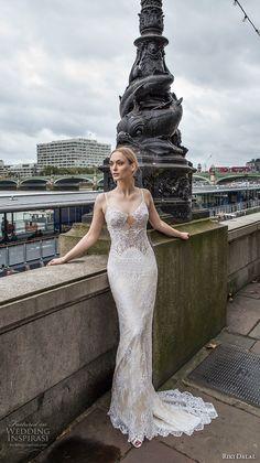 riki dalal fall 2017 bridal spagetti strap scoop neckline heavily embellished bodice elegant sexy sheath wedding dress low back sweep train (1916) mv