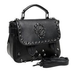 MG Collection Ming Gothic Skull Studded Structured Shoulder Bag