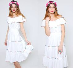 Vintage 70s Sun Dress RAINBOW Trim Midi Dress by LotusvintageNY