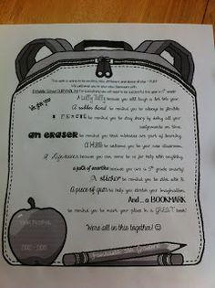 This is cute to have on the students' desks for Open House or the first day of school.