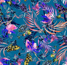 The Matthew Williamson marble nature print in paradise blue. Our holiday prints for spring 2016 capture the colour and creatures of the Amazon rainforest in all of their splendour and energy. This print was painted by hand in our London studio – from the petals of a heliconia to the markings of a beetle wing. In essence? They are prints waiting to be unpacked from your suitcase, ready to play on your next holiday.