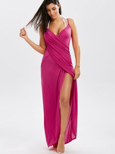 8646a78f6441 Wrap Front Maxi Slip Cover-Up Dress Cover Up