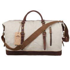Amazon.com: S-ZONE Oversized Canvas Leather Trim Travel Tote Duffel shoulder handbag Weekend Bag (Upgraded Version) ...: Clothing