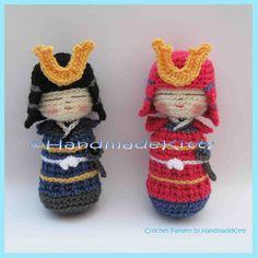 Samurai Kokeshi Amigurumi Crochet Pattern by HandmadeKitty, via Flickr.
