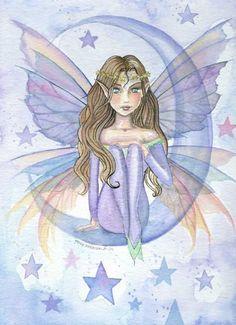 Fairy Art: Blue Moon by Artist Molly Harrison Elves And Fairies, Fairy Coloring, Blue Fairy, Unicorn Art, Artist Portfolio, Illustrations, Mermaid Art, Fairy Art, Magical Creatures