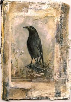 mixed media art journal ideas This is such a lovely neutral color scheme. The placement of the central figure is bold and portrait like. I enjoy the soft boldness. Crow Art, Raven Art, Bird Art, Mixed Media Artists, Mixed Media Collage, Collage Art, Mixed Media Journal, Mixed Media Painting, Kunstjournal Inspiration