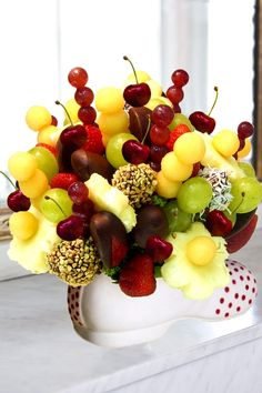 Fruits bouquet...I like the mix of chocolate covered fruits with nuts & coconut on the chocolate.