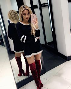 call me little red ❤️ thx @styledbylmc for the boots from @amiclubwear