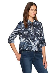 aa3bf47cb6d New Jones New York Women s Popover Equipment Blouse W Roll SLV online  shopping